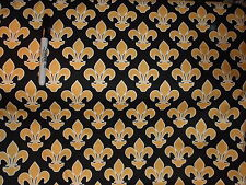 Cotton sewing quilting fabric BTHY FLEUR-DE-LIS new on bolt gold on black