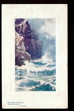 1910 Tuck rough seas Rocky Bastions of the Shore UK landscape postcard