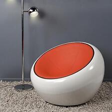 Poltrona girevole 360° design half dome bianca rosso arancio eco pelle pod chair