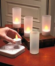 Lily's Home LED Rechargeable Flameless Tea Light Candles with Difused Votives...