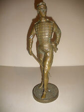 Antique Vintage Bronze Napoleonic war era French Hussar Soldier Military Statue