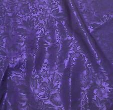 Silk JACQUARD Fabric BRIGHT PURPLE LEAVES BAROQUE 1/3 Yard remnant