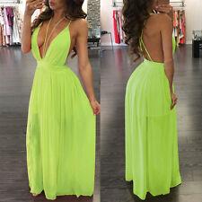 US Women Chiffon Backless Deep V Evening Party Dress Beach Long Dresses 8 10