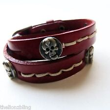 Sexy Urban Gothic Fashion Skull Rivet Double Wrap Red Leather Bracelet