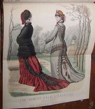 Original Leather VICTORIAN LADIES FASHION BOOK Hand Coloured FOLDING ENGRAVINGS