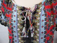 BILA BLUE RED Silver WOMENs  Floral SEE THROUGH TIE UP SHIRT TOP 2XL Sheer NEW