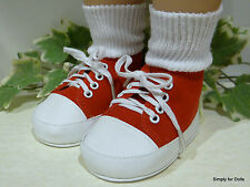 "**SALE** MY TWINN Red Suede Hi-Top DOLL SNEAKERS Shoes fits 23"" Poseable Doll"