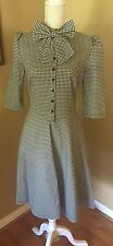 NWT Vintage Look Rockabilly Retro Dress Gingham Houndstooth Bow Neck Sz L 10 12