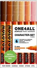 MOLOTOW ONE 4 ALL 127HS MARKERS - 2MM NIB PAINT PENS - CHARACTER COLOURS - 6 SET