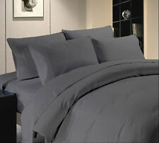Duvet Set + Fitted Sheet King Size Gray Solid 1000 TC 100% Egyptian Cotton