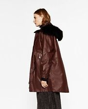 ZARA MAROON WAXED OVERSIZED FAUX FUR HOOD PARKA JACKET SMALL BLOGGERS