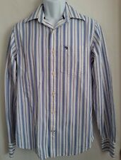 Men's Casual Shirt Abercrombie & Fitch Striped Button Front Blue/White Size M