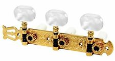 Schaller Lyra Classical Guitar Tuning Key Set Tuners GOLD w/ Pearloid Buttons