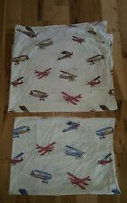 Pottery Barn Kids Vintage Planes 1 Twin Flat sheet and 1 pillowcase EXCELLENT!