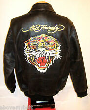 ** AVIREX  & ED HARDY FACTORY DISTRESSED LEATHER Jacket**L**$900***99.9% NEWBIE!