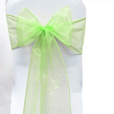 Light Green Sash Bows Tie Chair Cover Venue Banquet Wedding Party Organza Decor