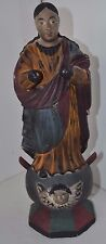 Vintage Antique Santos Monk Polychrome Religion Carved Church Asian Statue