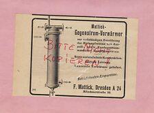 Dresda, Pubblicità 1920, F. Mattick contro corrente-economizzatori