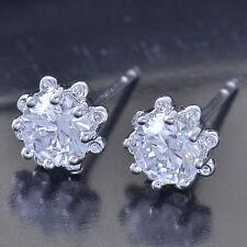 Shiny 9K White Gold Filled CZ Womens Sunflower Stud Earrings,Z5002