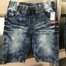 Mens Blue Denim Shorts Bleached Wash Jeans Size XXL 38 - 40 New With Tags $50