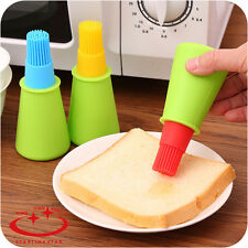Silicone Honey Oil Bottle with Basting Brush Bread Barbecue Cooking Baking Oil