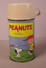Vintage Peanuts cartoon metal lunchbox thermos 1959 Schulz Snoopy Charlie Brown