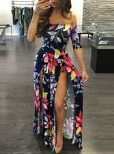 Off Shoulder Floral Maxi Dress - Build In Shorts -  UNIQUE Dual Slit