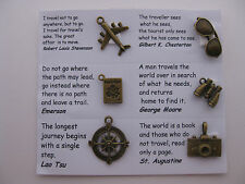 Travel charms for scrapbooking, card and jewelry making - 6 charms & quotes
