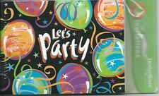 8 Count Let's Party Note Cards Balloon Streamer Bright Colors Invitations Invite