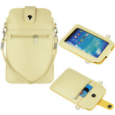 Beige Cross-body Case Bag Pouch for Samsung Galaxy Mega 6.3 Note 4 / LG G Pro 2