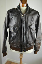 Vintage ERICKSONS A-2 LEATHER Flight Jacket Pilot Motorcycle Jacket brown MEDIUM