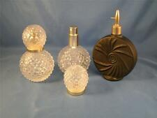 2 Hobnail Clear Glass Perfume Spray Bottles and 1 Vintage Black Perfume Bottle
