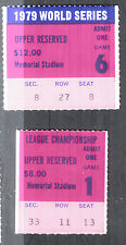 Baltimore Orioles 1979 World Series Game 6 & ALCS #1 Vintage Small Ticket Stubs