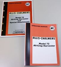 ALLIS CHALMERS 72 HARVESTER OPERATORS OWNERS PARTS CATALOG MANUAL COMBINE AC