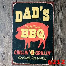 Metal Tin Sign DAD'S BBQ Decor Bar Pub Home Vintage Retro Poster Cafe ART