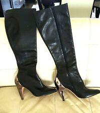 REPORT SIGNATURE Black Leather Knee High Chrome Metallic Heel Almond Boots 8.5