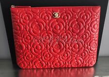 NWT Chanel RED Caviar Camellia SLG Medium O-Case Zip Pouch Evening Clutch Gold