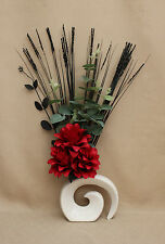ARTIFICIAL SILK RED DRAGON FLOWERS WITH FOLIAGE AND GRASSES IN WHITE FOSSIL VASE