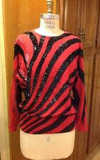 Vintage 90s La Fete Black / Magenta Wool  Beaded Kimono Disco Party Sweater Sz M