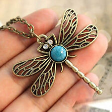 Retro Vintage Bronze Pretty Dragonfly Nature Stone Pendant Long Necklace Chain