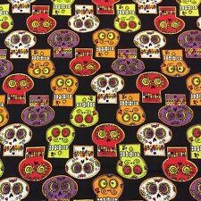 MD275 Day Of The Dead Mexican Skulls Floral Spooky Cotton Quilt Fabric