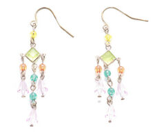 Metal/ Multicolour Opaque Gems & Dangly Earings( Zx72)