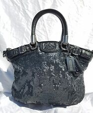 Coach Madison Sequin Mini Sophia Shoulder Hand Bag Satchel Black 18638