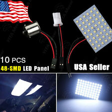 10X Cool White RV 1141/1156/BA15S & T10/921/194 48-SMD Panel Interior LED Lights