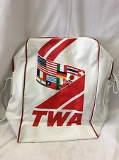 Vintage TWA Airlines Vacations Travel Bag Carry On Shoulder Strap e13