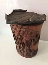 Rare Antique Chinese Bamboo Carved Brush Pot Wash with copper leaf top
