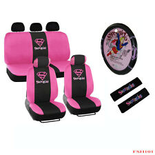 New 13pcs Pink SuperGirl Car Front Back Seat Covers & Steering Wheel Cover Set