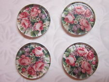 4 pcs floral rose flower Glass round Cabochons x 25 x 4.5 mm findings crafts
