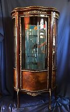 VERNIS MARTIN Curio Cabinet Vitrine- Wood, Curved Glass, & Ormolu Mounts, c.1895