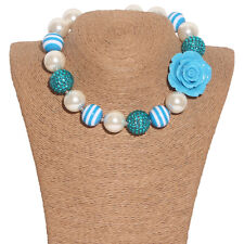 New Gumball Bead Bubblegum Necklace Blue Rose for Little Kid X-mas Gift